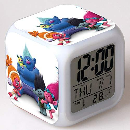 Yyoutop Réveil réveil Enfants Dessin animé Couleur Changeante veilleuse Horloge numérique numérique Horloge de Bureau électronique
