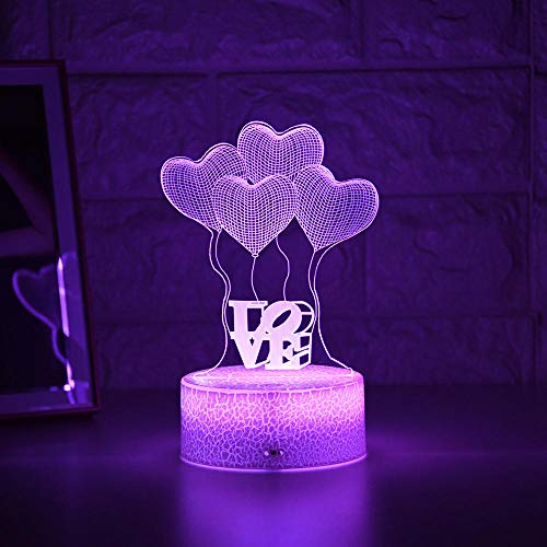 Lampe de nuit 3D Illusion Lampe Enfant Lumière Nuit 3D LED Veilleuse Créative Table de Chevet Lampe Romantique Ballon Amour Light Enfant Décoration Cadeau ZMSY