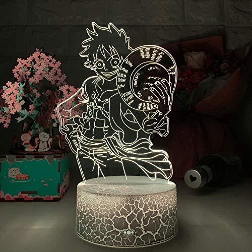 Lampe de nuit 3D Illusion – Singe D Luffy – Illusion 3D – Veilleuse LED tactile – Veilleuse pour chambre d'enfant – Décor cool – Lampe de table Anime ZMSY