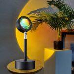 Sunset Night Projecteur Lampe De Projecteur à 90 Degrés Rotation Rainbow Lampe de Projection LED Atmosphère Lumière USB Moderne Halo Lamp Decoration De Lampe de Plancher(Color:Rouge coucher de soleil)