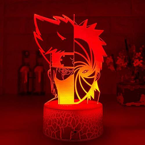 ZMSY Lampe de nuit Illusion Lampe LED Veilleuse de Nuit Japonais Anime Obito Uchiha et Kakashi Demi Face Night Light pour Enfant Table de Chambre 3D Lampe Cadeau