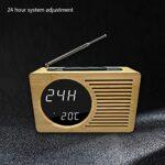 YUTAO Réveil LED, Horloge LED Bambou, Radio FM, réveil électronique, Affichage de la température, Type de Charge, luminosité réglable