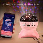 ZJQ-Projecteur Ciel Etoile, Lampe Musicaleenfants avec Bluetooth, Support TF Carte/U Disk Jouez des Chansons, 360 ° Rotant – Charge USB, Cadeau pour Anniversaires Garçon,Rose