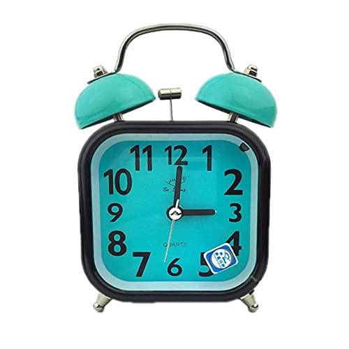 gzynyl Réveils Square Heart Shake Shake Bell Clock Aucun Tick Twin Bell Réveil avec lumière de Nuit pour la Chambre de la Fille pour Enfants Décoration de la Maison 1PC (Farbe : 5)
