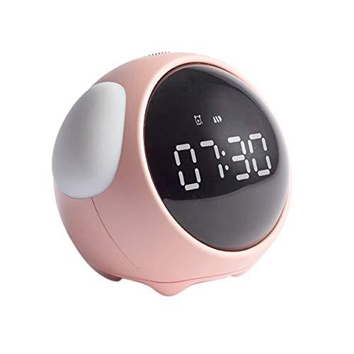 JSJJAYU Bande de Cheveux Pixel réveil Multifonction Étudiant Chevet Veilleuse Horloge électronique Snooze Enfants réveil (Color : Pink)