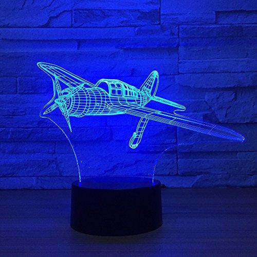Veilleuse 3D pour avion de combattant – Lampe de bureau LED – 7 couleurs changeantes – Décoration d'intérieur – Cadeau d'anniversaire ou de Noël – Pour les amateurs d'avion – Pour enfants et adultes
