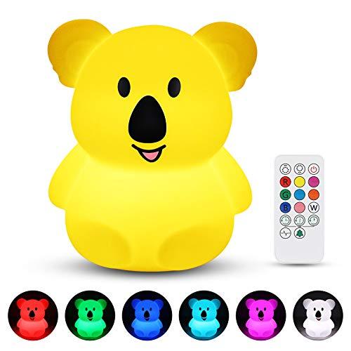 Veilleuse Enfant, Redmoo Veilleuse Led Silicone Lampe de Chevet avec Télécommande, Contrôle Tactile USB Rechargeable RGB Multicolor Dimmable pour La Chambre et Salon – Koala