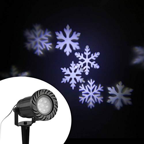 Allibuy Lampe De Projecteur Projecteur étanche Lumière Automatiquement LED Flocons De Neige en Mouvement Projecteur Lampe Mur Et Arbre Noël Vacances Lumière Décorative Sky Night Lightpour La Fête