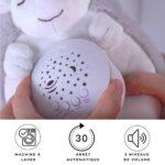 HuBorns – Peluche bébé musical – Lumière anti-miettes pour enfants avec bruit blanc – Projecteur musical pour bébé – Cadeau pour nouveau-né