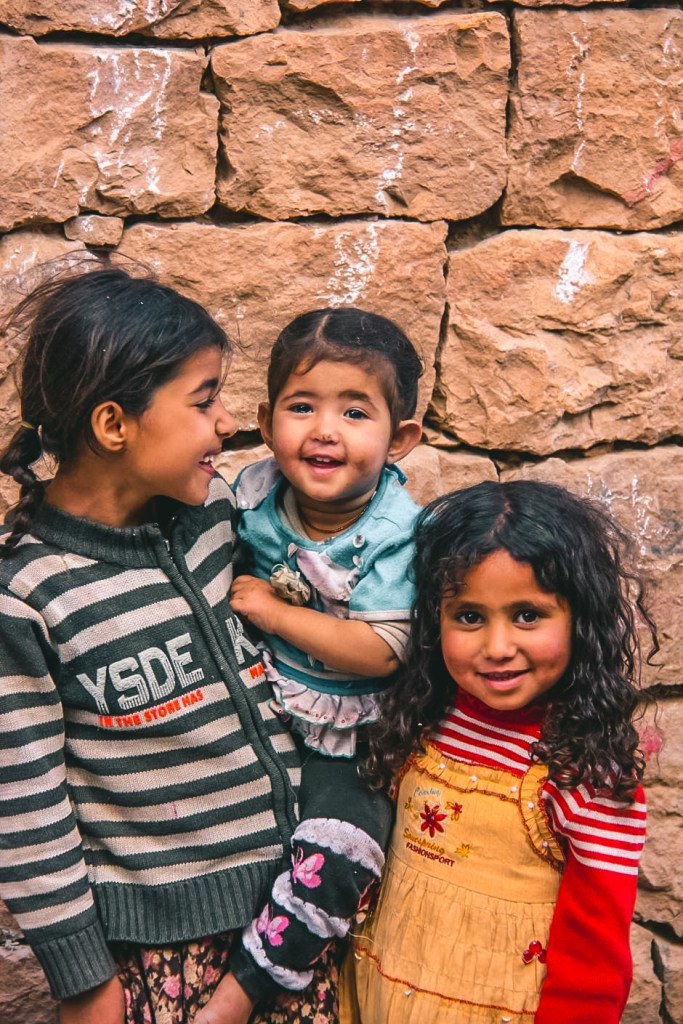 Three little girls who used to play near my hotel in Sanaa