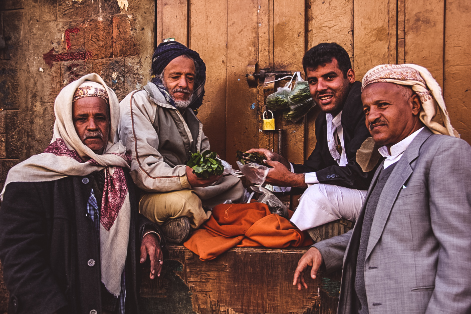 Sanaa locals buying qaat in the souq