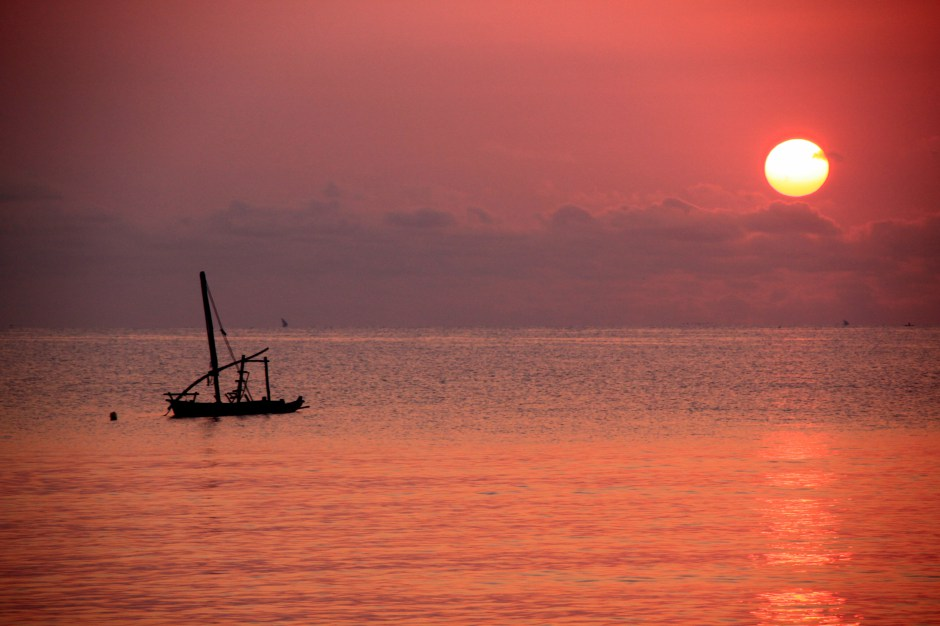 zanzibar sunset over indian ocean