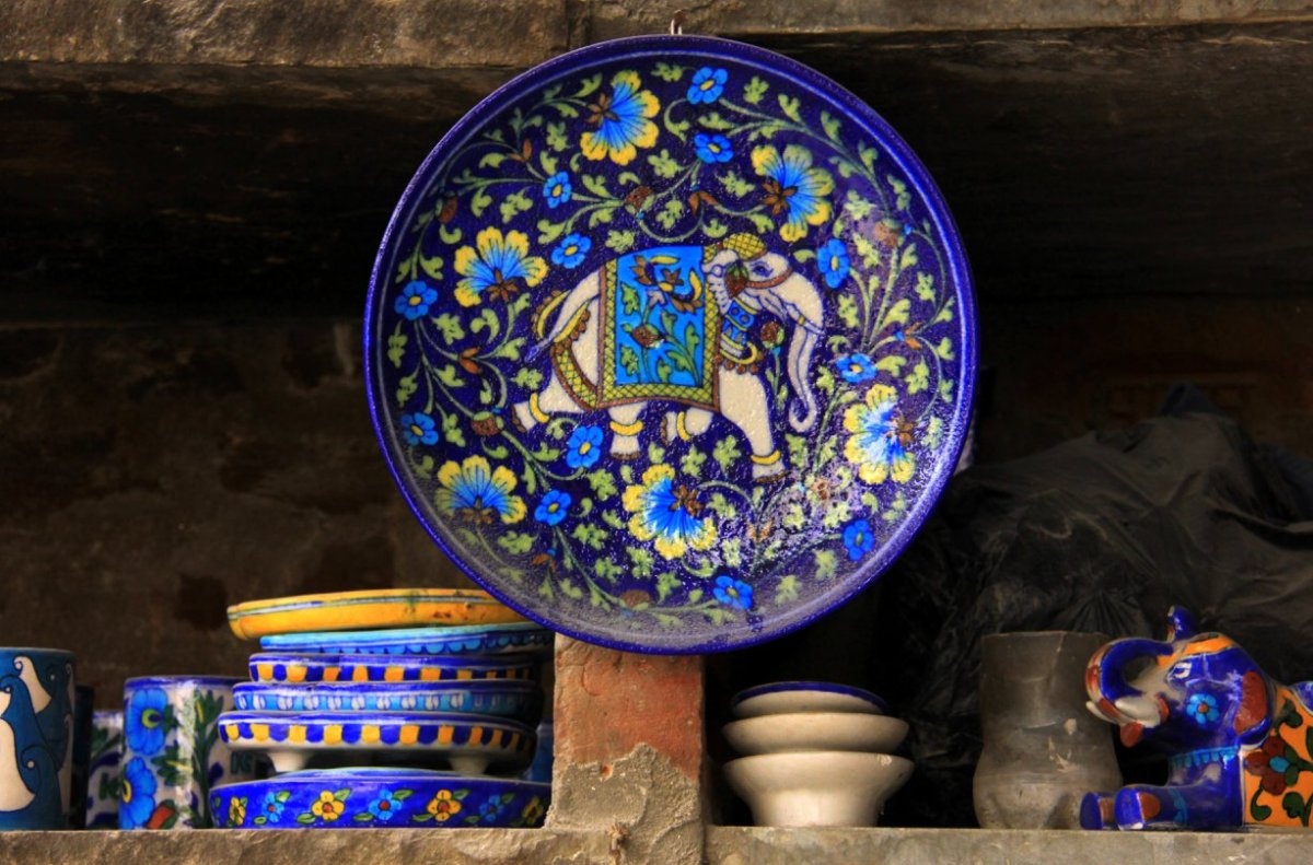 The signature cobalt of the Jaipur Blue Pottery