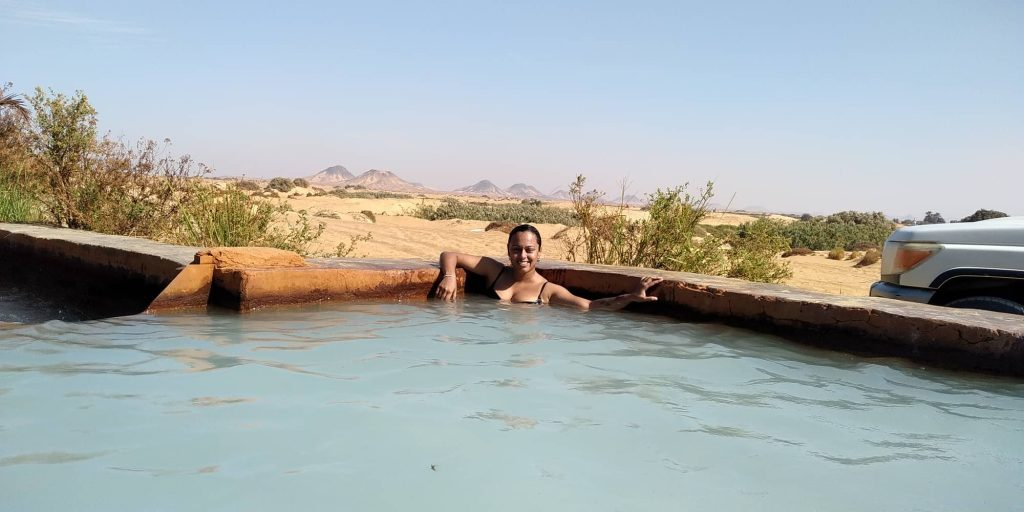 Lazing in one of the natural pools near Bahariya Oasis