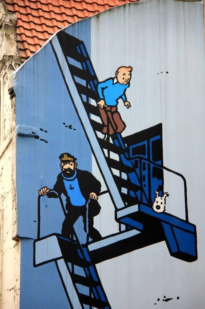 brussels street art involves Tintin