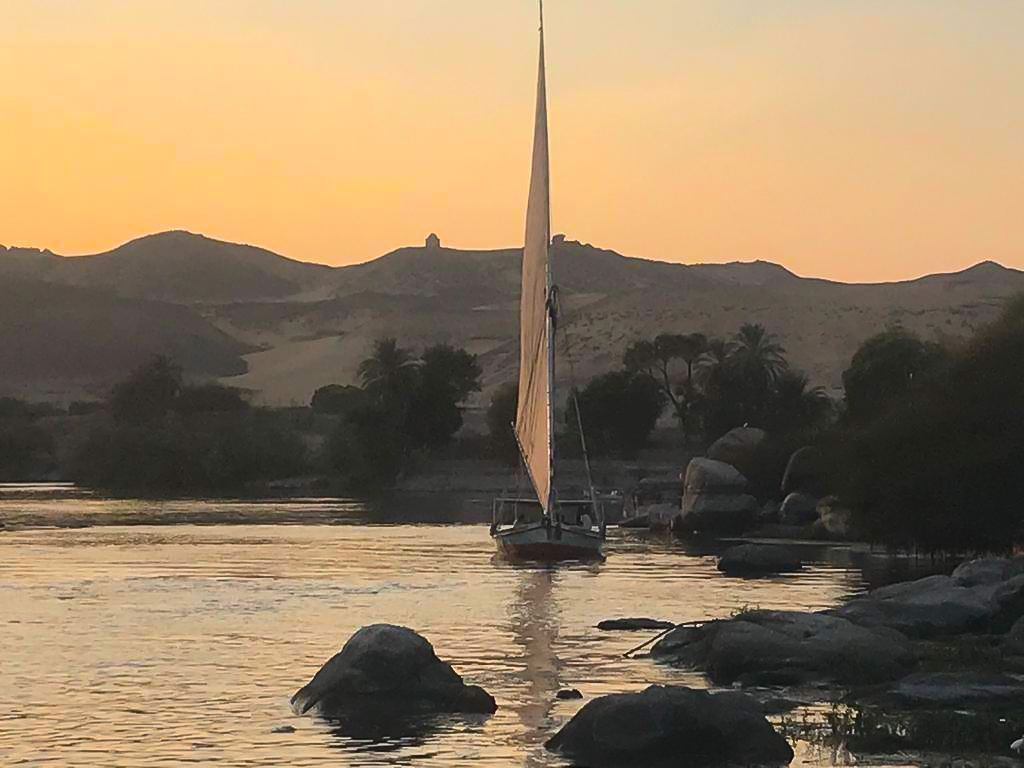 A tranquil Nile sunset in upper egypt