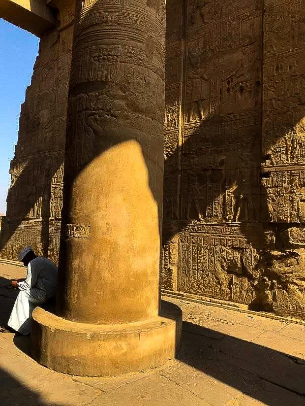 Columns inside the Temple of Kom Ombo in upper egypt