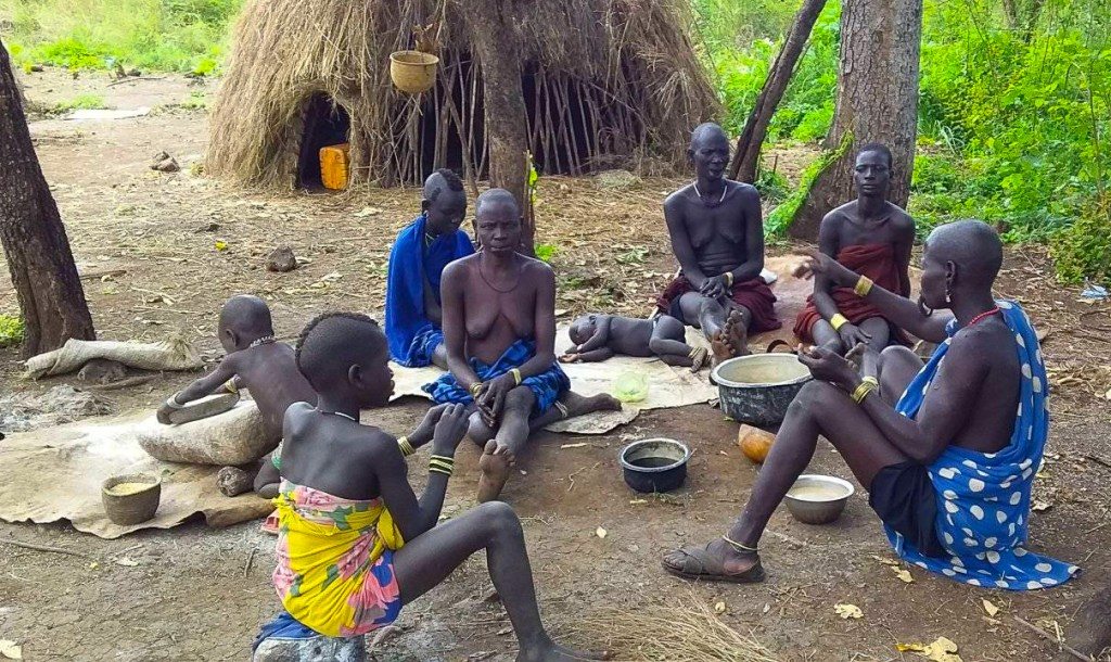 Mursi village council in Ethiopia's omo valley