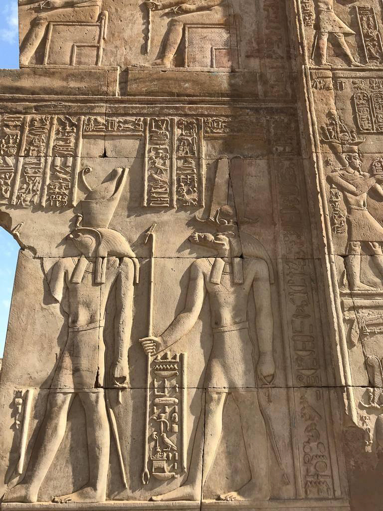 The falcon headed Horus and the crocodile god Sobek in one relief