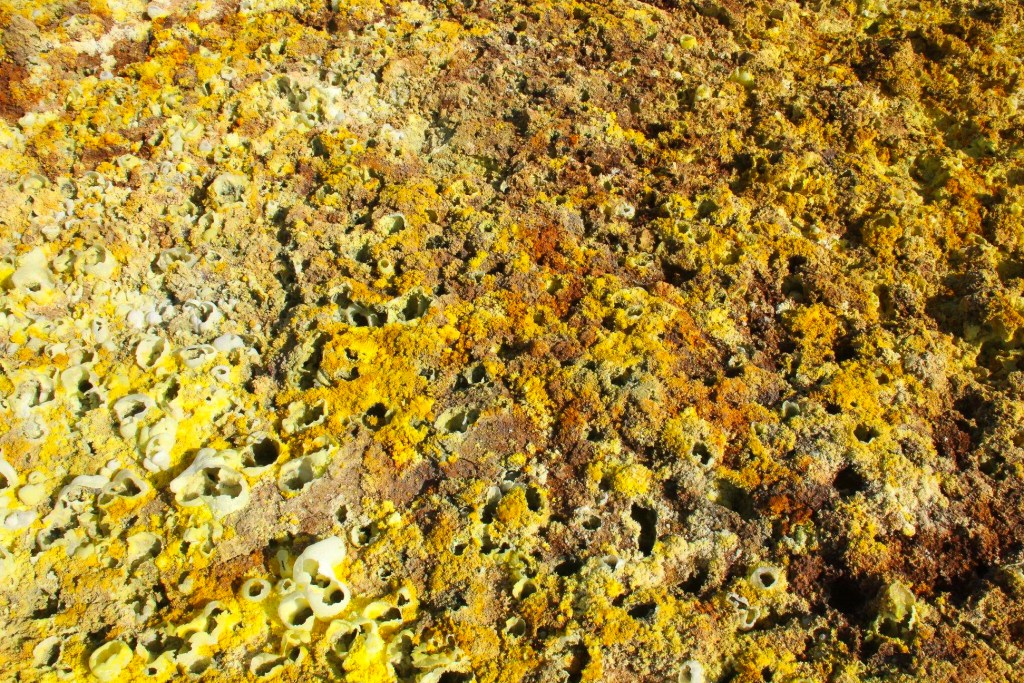 A close-up of sulfur deposits in the Danakil Depression