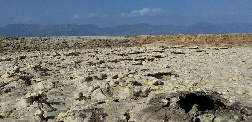 Crusty cracked sun baked salt pans of Danakil Depression