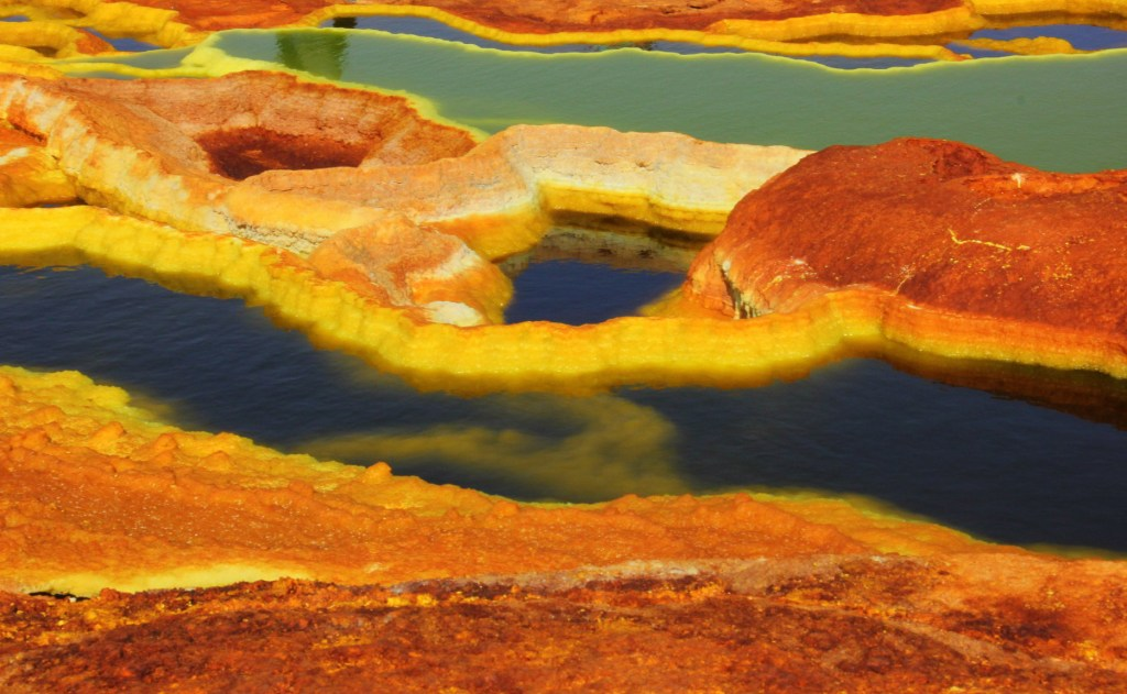 Sulphur springs in Dallol in Danakil