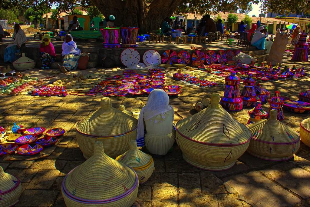 The Saturday basket market in Aksum in Ethiopia