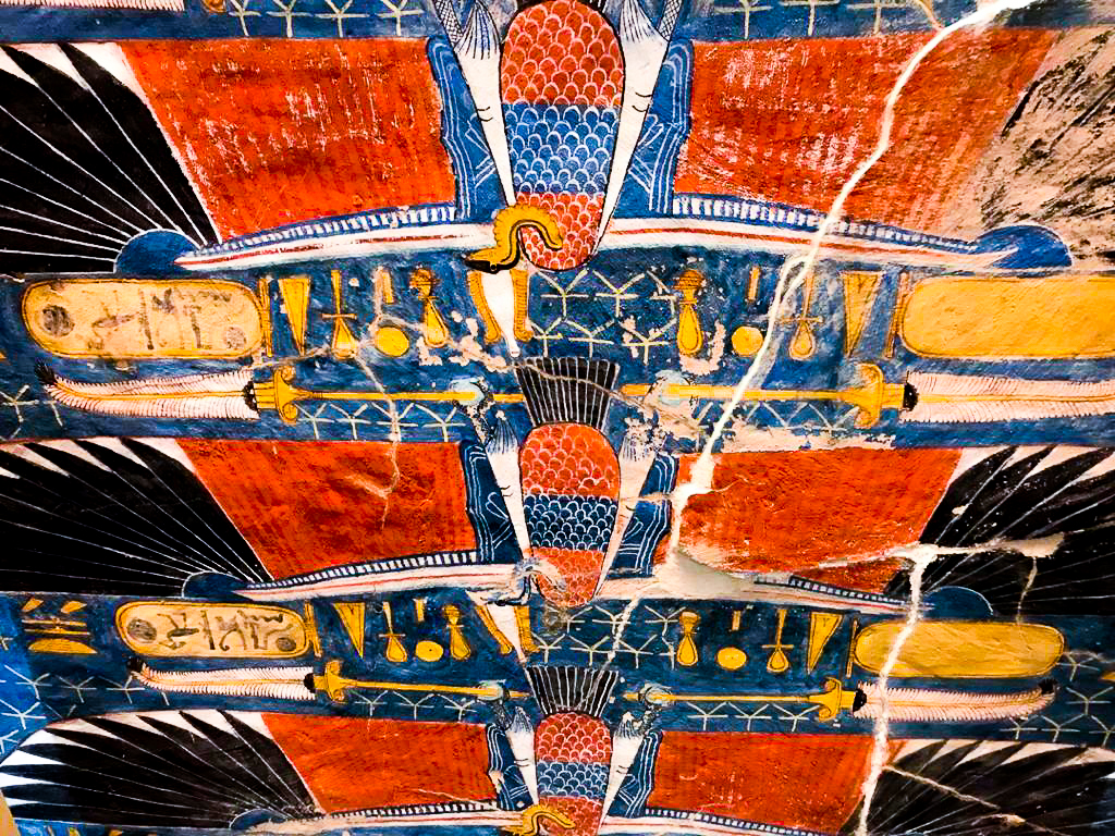 Details found at the tomb in the Valley of the Kings in egypt