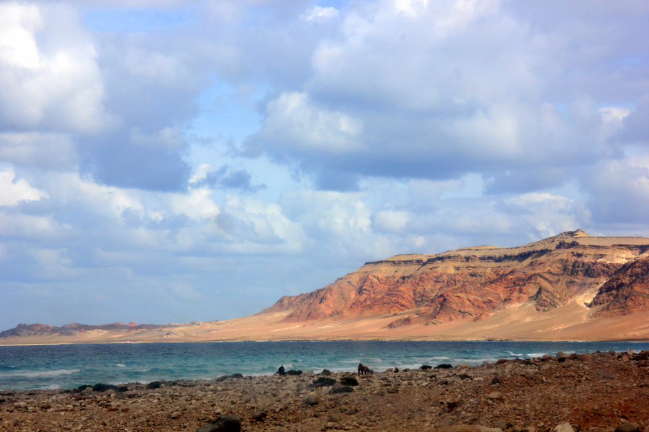 The beautiful pink cliff and blue ocean of Socotra Yemen