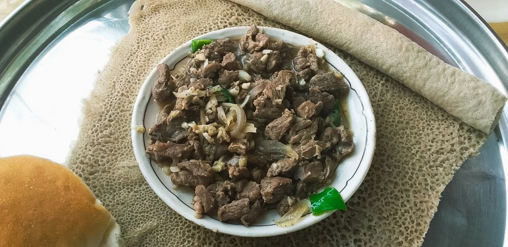 Injera with tibs, one of my favourite dishes in Ethiopia trip