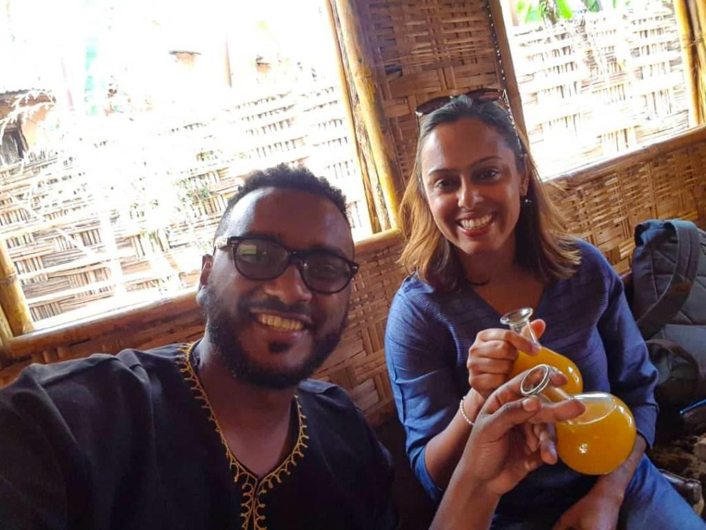 Enjoying Tej (honey wine) in Addis Ababa during my Ethiopia trip
