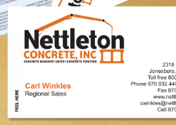 individual business card showing easy peel backer