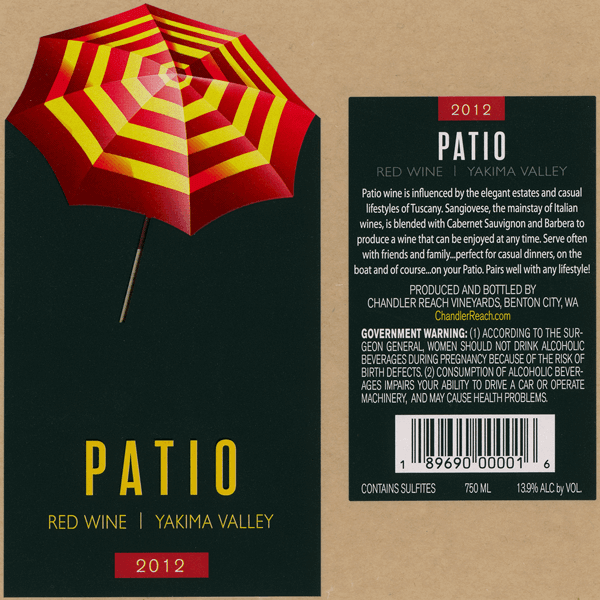 Wine Bottle Label for Patio Wine