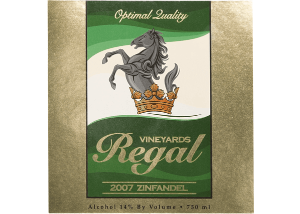 Wine Bottle Label for Regal Vineyards