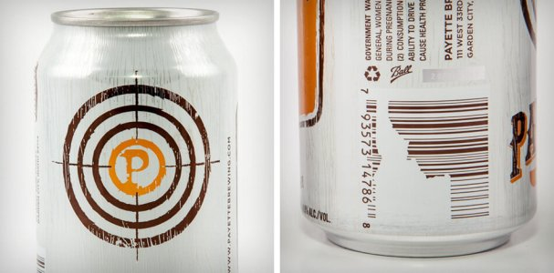 Idaho state shape in barcode design on beer can