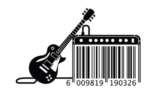 Unique barcode design with barcode appearing as amp next to electric guitar