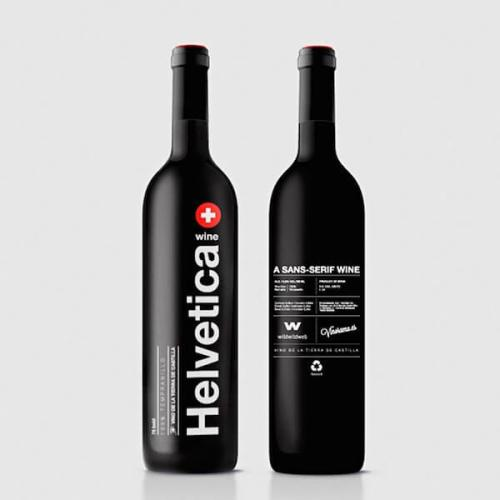 Helvetica creative wine label design