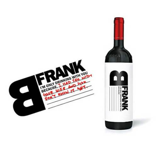 B Frank creative hand-written wine label design