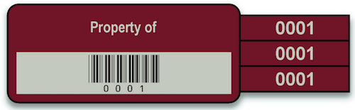 Asset Tracker property ID tag in burgundy