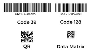 Comparative sizes of 1D and 2D barcodes