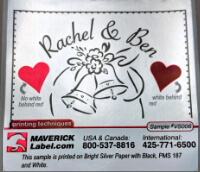 Affordable stickers: Red and black ink, silver label material