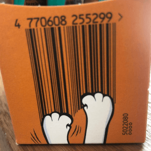 cat paws creating barcode