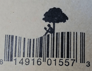 barcode with a reader on a hill, under a tree