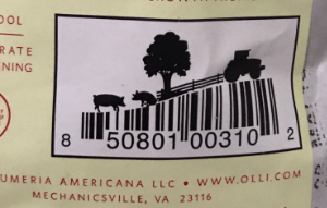 Barcode with tractor, tree, fence, and pigs