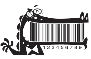 The teeth of an alligator make up this barcode for tooth flossers