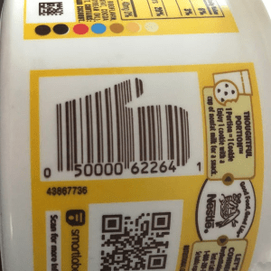 Cookie dough with an oven mitt barcode