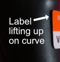 label peel on curved surface