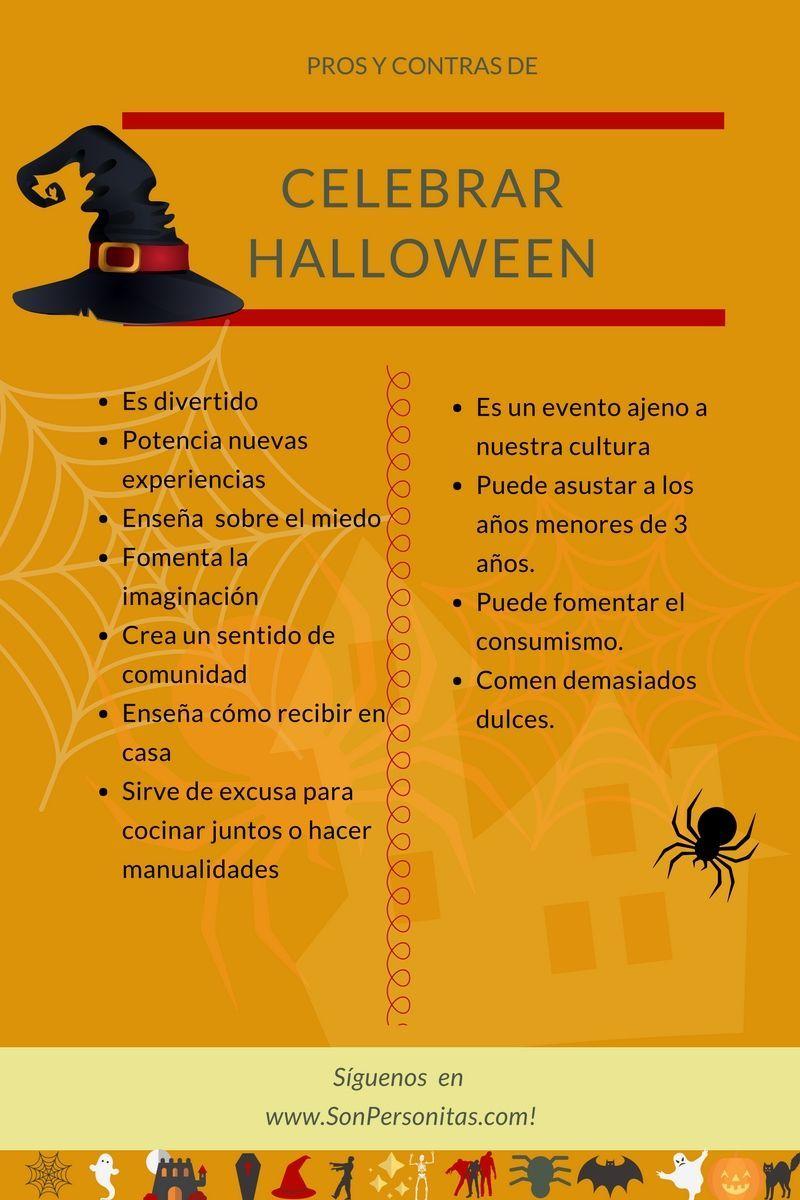 Infografía con los pros y contras de celebrar Halloween.