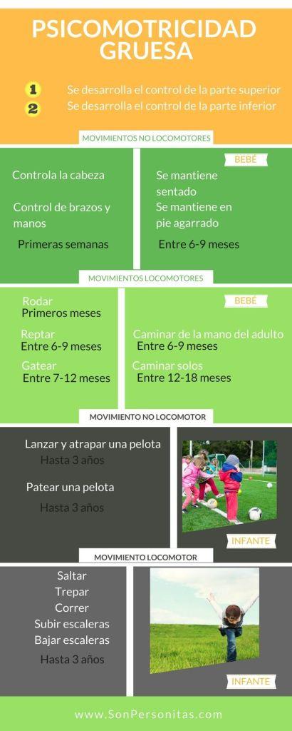 Infografía de las etapas del desarrollo de la psicomotricidad gruesa.