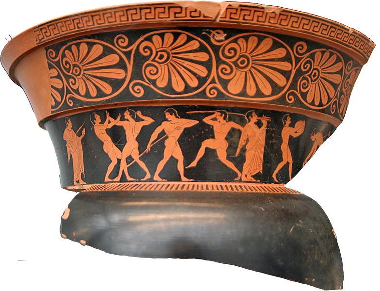 Fragmento de cerámica griega de figuras rojas.
